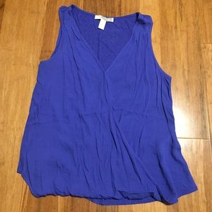 Forever21 Faux Wrap Blue Tank Top